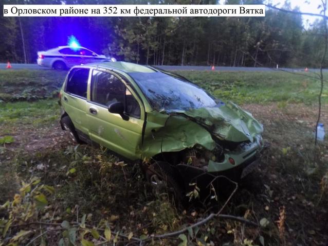 Фото В Орловском районе «Дэу» вылетел с дороги и перевернулся после столкновения с «Ауди»