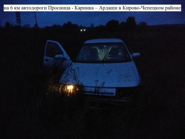 Фото В Кирово-Чепецком районе пьяный бесправник вылетел с дороги и перевернулся